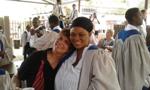 Church outreach in Barberton: Mama Cheryl with one Pastor missionary
